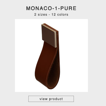 Cabinet pulls made of leather in 2 sizes and 12 colors - MONACO-1-PURE