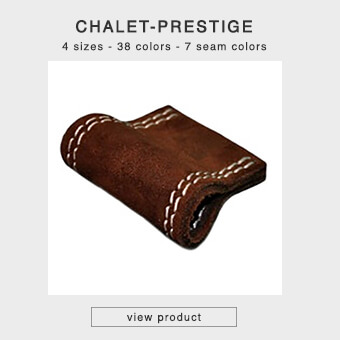 Leather drawer handles with decorative stitching in 4 sizes and 35 leather colors - CHALET-PRESTIGE