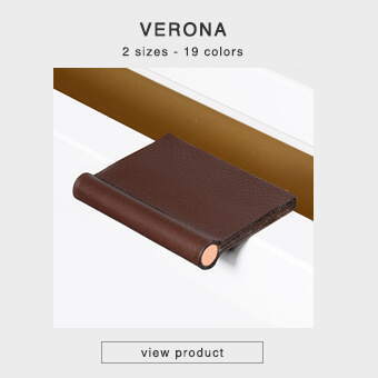 Furniture leather handles for front edges in 2 sizes and 18 colors - VERONA