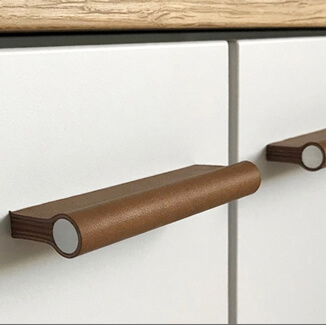Leather furniture handle for cabinet with aluminum handle