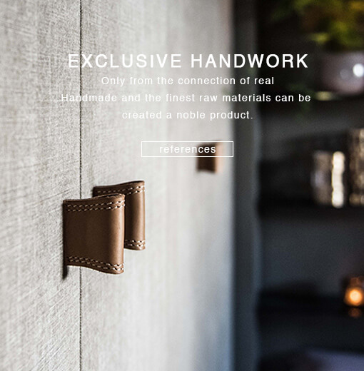 Leather handles are made in exclusive manual work
