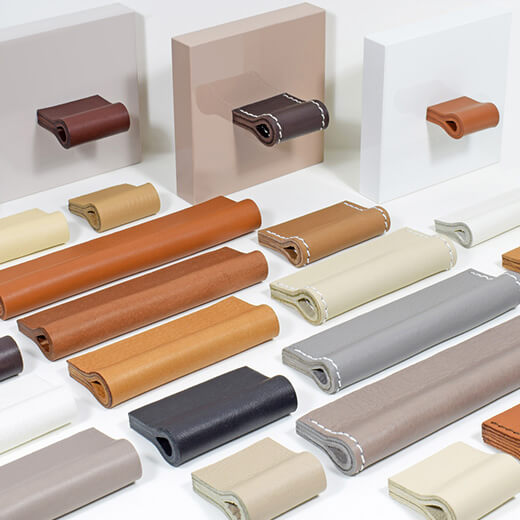 Leather furniture handles in a unique selection