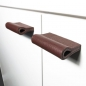 Preview: Leather loops MILANO-PURE in mahogany by minimaro - luxury furniture handles
