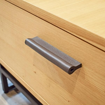 cabinet hardware made of leahter