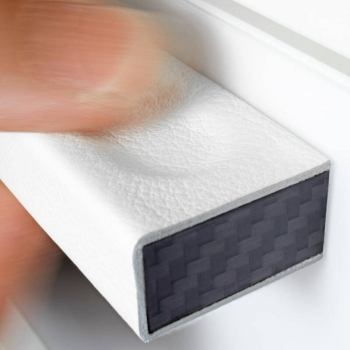 Carbon and white leather furniture handles