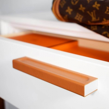 Unique cabinet hardware handmade of luxury leather